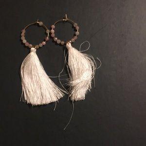 White tassel earrings.